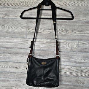 Fossil Leather Gold Hardware Crossbody Bag